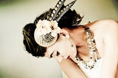 Bridal Fascinator Hat - Cream, Beige Flowers and Feathers - ARC DE TRIOMPHE