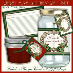 """Craft your own Kitchen food gifts with this easy to use Jelly or Mason Jar Label kit.  Includes a 3 1/2 x 5"""" #recipe #card to match, two gift tags, a blank label and a card front.  Print it yourself with #digital #download.  INSTANT DOWNLOAD #Christmas #Food #Gift by AudreyJeanneRoberts, $4.95"""