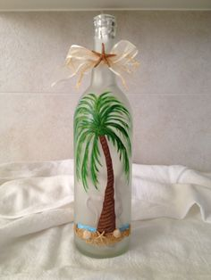 Hand Painted Beach Scene/Palm Tree on a Lighted Wine Bottle