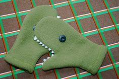 Dinosaur mittens