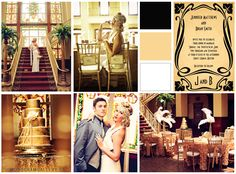 Art Deco Themed Wedding Invitations by the Monogram Gallery + Inspiration board for A Great Gatsby 1920's themed wedding!