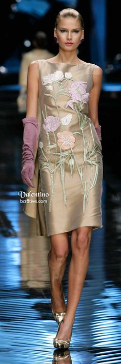 Valentino Neutral Embroidered Formal Wear & Long Violet Gloves
