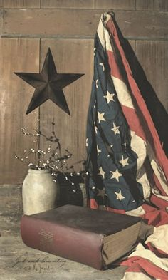 God and Country-patriotic,faith,flag,God,Christian,Billy Jacobs,primitive artwork