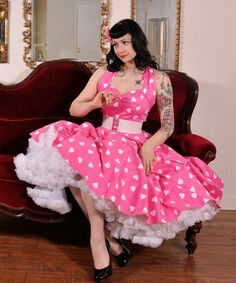 Pink heart print dress and petticoat