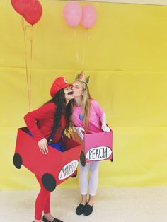 Senior dress up day; girl costumes; group costumes; mario kart; mario and peach; best friend costumes; diy