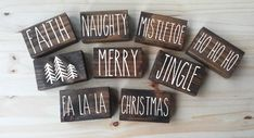 Christmas Mini Collection, christmas mini signs, Christmas Wood Sign, shelf sitter sign, Christmas D Christmas Words, Christmas Minis, Vintage Christmas Ornaments, Christmas Decorations, Blue Christmas, Christmas Ideas, Christmas Tree, Christmas Wood Block Crafts, Christmas Signs Wood