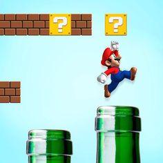 Mario is jumping on bottles