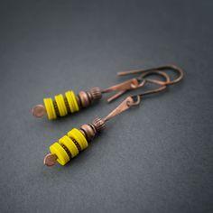 African Earrings • Kofi Beads • Tribal • Yellow Earrings • Vinyl Heishi Bead • Hand Forged Oxidized Copper • Short Earrings • Ethnic Jewelry by entre2et7 on Etsy
