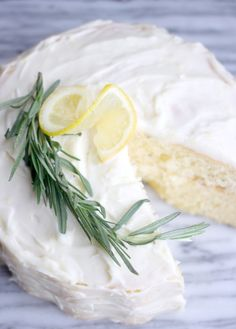 FLUFFY LEMON-ROSEMARY LAYER CAKE WITH LEMON CREAM CHEESE FROSTING