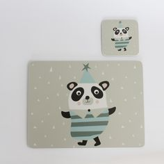 Pom-Pom Panda coaster and placemat gift set - perfect christening, birthday or Christmas present.  #Kidsinteriors #children'stableware #kidsbirthdaypresentidea #christeningpresentideas #kidstablewares #scandidesigns #pandadesign #christmaspresentidea