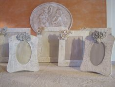 Some photo frames - wooden frames treated to achieve that shabby chic 'look'. Created by Le Luci di Daniela