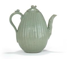 A celadon glazed bamboo ewer and cover, Goryeo dynasty, 12th century