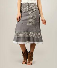 Look at this #zulilyfind! Gray & White Polka Dot Galicia Midi Skirt - Women #zulilyfinds