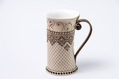 Teacup or coffee cup with red decoration handmade pottery with glazed cover. This is the perfect cup for your morning hot coffe,tea or other Pottery Mugs, Pottery Art, Ceramic Cups, Ceramic Art, Coffee Cups, Tea Cups, Red Mug, Ceramic Techniques, Ceramic Materials