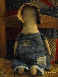 Fat Hen Farm - Primitive Rag Doll - Early Blue Calico  #NaivePrimitive