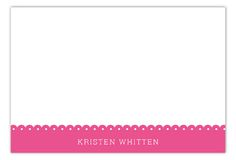 Spring Scalloped Pink Flat Note Card #Stationery Holiday Invitations, Pink Flats, Personalized Stationery, Note Cards, Polka Dots, Notes, Spring, Design, Report Cards