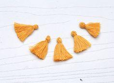 Mini Tassels, 5 Pieces Tiny Mustard Yellow Tassels - Cotton Tassels - PS025 by…