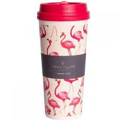 Sara Miller Pink Flamingo Thermal Travel Cup - Vibrant Home