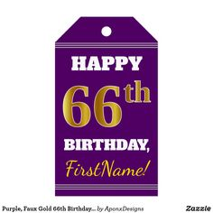 Purple Faux Gold Birthday Custom Name Gift Tags - birthday gifts party celebration custom gift ideas diy 65th Birthday, Birthday Gifts, Birthday Diy, Name Gifts, Custom Ribbon, Personalized Gift Tags, Birthday Greeting Cards, Decoration, Gold Gifts