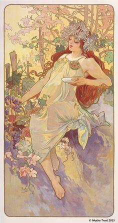 Alphons Mucha   The Seasons series : Autumn(1896)