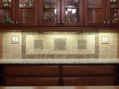 Decorative, handmade ceramic tile backsplash by http://earthsongtiles.com http://facebook.com/earthsongtiles http://earthsongtiles.etsy.com
