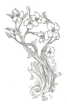 42 Best Cherry Blossom Tattoo Flower Outlines Images Cherry
