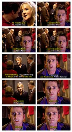 """""""He's waited so long. In the dark. In the diamonds. Bodies so hot with blood and pain"""" Doctor Who- Midnight Doctor Who 10, Doctor Who Quotes, Eleventh Doctor, Geronimo, Tv Doctors, Don't Blink, Bad Wolf, David Tennant, Best Tv Shows"""
