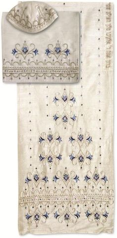 White Silk Tallit with Blue and Silver Floral Pattern