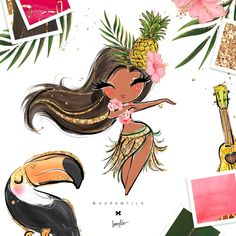 Hawaii Hula-Girls Clipart by Karamfila on Summer Planner, Hawaii Hula, Girl Clipart, Tropical, Hula Girl, Illustrations, Textile Prints, Design Bundles, Watercolor Art