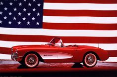 """1957 Corvette """"American Classic"""" Cool Car Poster - Eurographics Inc. Car Posters, New Poster, Chevrolet Corvette, 1957 Chevrolet, Stretched Canvas Prints, Muscle Cars, American Flag, American Sports, Cool Cars"""