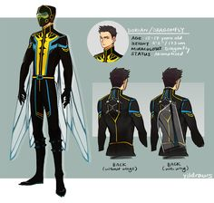 yildraws: revamped Dragonfly's design bc i wasn't satisfied with it & finally figured his back+wing mechanism? design (I based the back/wing mechanism on the back of the emperor dragonfly)!! I wanted his design to look more form fitting yet stealthy while still keeping a bit of dragonfly-inspired aspects to relate to his backstory+akumatized reasons LOL (which i might reveal…. someday… once i figure it out completely) _(:3 J edit: fixed the height bc im a dumbass (no thx to u google ...