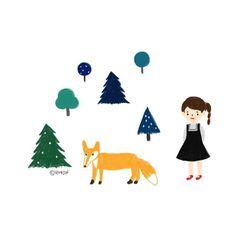 꼬마랑 꼬꼬마여우랑 꼬꼬꼬마나무 #illust #illustrator #illustration #daily #diary #doodle #drawing #colorpencil #girl #green #tree #forest #fox #그림 #색연필그림 #일러스트 #숲 #나무 #여우 #친구들