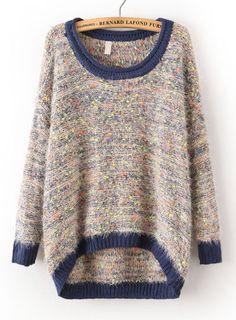 Blue Long Sleeve Shaggy Asymmetrical Kint Sweater -