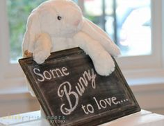 some bunny to love Beatrix Potter Peter Rabbit theme baby shower with grey chevron decorations chalkboard