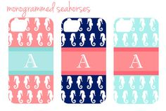 Monogrammed Seahorses iPhone Cover on Etsy, $37.50