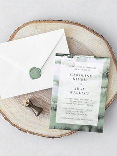 Wedding Invitation Template Green Watercolor Wedding