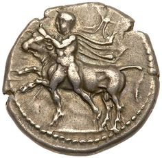 Thessaly, Larissa. Silver Drachm (5.95 g), ca. 450-420 BC EF Thessaly, Larissa. Silver Drachm (5.95 g), ca. 450-420 BC. Youth wrestling bull left, petasos and cloak trailing. ΛAPI-Σ-AIA, horse prancing right within incuse square. Lorber 52; BCD Thessaly II 173. Fine style and most attractively toned. Extremely Fine. Estimated Value $600 From the Dionysus Collection Ex Hess 253 (8 March 1983), lot 160. #Coins #Ancient #Silver #MADonC