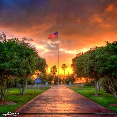 HDR image from Vero Beach during sunset at the Memorial Park with the American Flag. Three exposure HDR photography photo created using Photomatix Pro. Hdr Photography, Memorial Park, Vero Beach, First Nations, Bald Eagle, Great Places, American Flag, North America, Florida