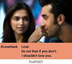 Love is not always mutual, it might be from one end only sometimes. This text embedded to picture using ProPOST App. Download app: http://propost.in #quote #quotes #deepikapadukone #ranbirkapoor #bollywood #yehjawanihaideewani #love...