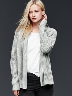 Chunky knit open-front cardigan