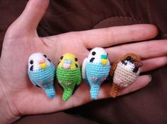 crochet parakeets and sparrow - too cute.