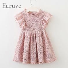 Hurave 2017 Летнее платье для девочек кружевное платье для модная детская одежда с бахромой платья принцессы дети лето vestidos купить в магазине Hurave Store на AliExpress