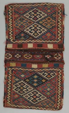 Kurdish saddle bags (for mules). Iran, mid-20th century. Soumak weaving technique, 98 x 54 cm.