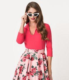 Vixen by Micheline Pitt Hot Pink Rose Cotton Stretch Vixen Top – Unique  Vintage. Elizabeth Acosta · Plus size clothing 490581798529