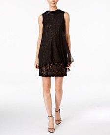 SL Fashions Sequined Lace Overlay Shift Dress