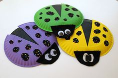 Lady Bugs  2 paper plates  acrylic paint in black and your choice of colors  Paint brush  paper fastener  2 large wiggle eyes  glue stick  fun black patterned fabric  black felt  scissors