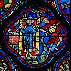 The left hand side of the Zodiac window at Chartres Cathedral contains the twelve months of the year. The panels here depicting January, were donated by count Thibault VI on behalf of Thomas of Perche.