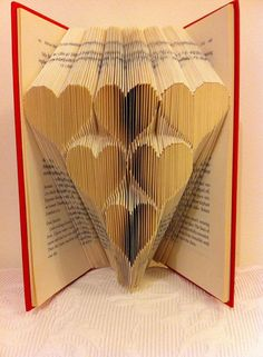Book folding pattern for a stack of hearts 6 by BookFoldingForever