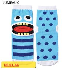 JUMEAUX Print Big Tongue Teeth Women In Tube Socks Colorful Striped Cotton Cartoon Short Socks For Women Children Girl