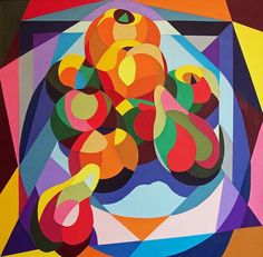 ARTFINDER: Still Life of Fruit by Stephen Conroy - Cut paper still life picture of oranges, apples and pears, contrasting organic and geometric shapes.  Produced on deep edged stretched canvas with painted si...